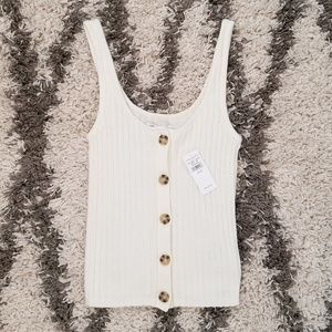 AE Ribbed Button Sweater Tank